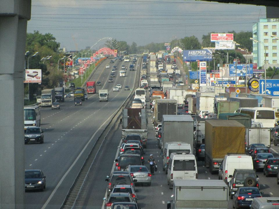 Congested Traffic on the Highway to Moscow