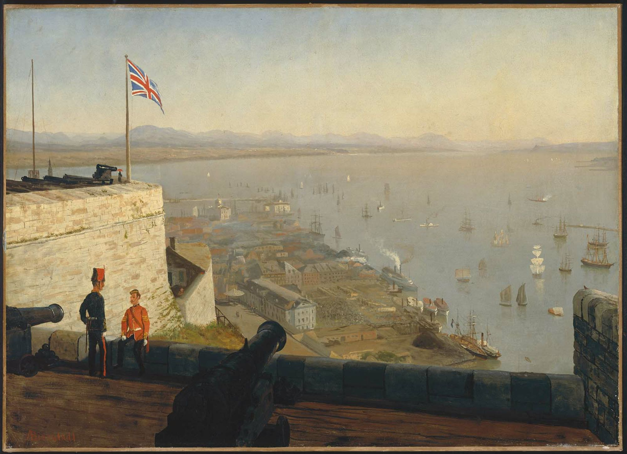 bierstadt - Saint Lawrence River, From The Citadel, Quebec. 1880. Oil on paper mounted on canvas. 56.2 x 77.79 cm (22 1-8 x 30 5-8 in.). Museum of Fine Arts, Boston MA