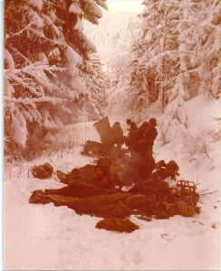 Sleeping in a snow bank after an 18 hour forced march down a very steep mountain. In the sleeping bag, boots and all.