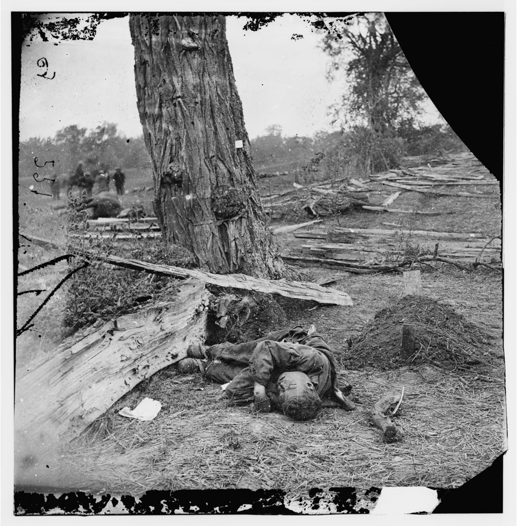 Federal Buried, Confederate Unburied, Where they Fell by Alexander Gardner, c. 1862 (Digital File from Original Negative of Left Half, Library of Congress: LOC LC-DIG-cwpb-01085)