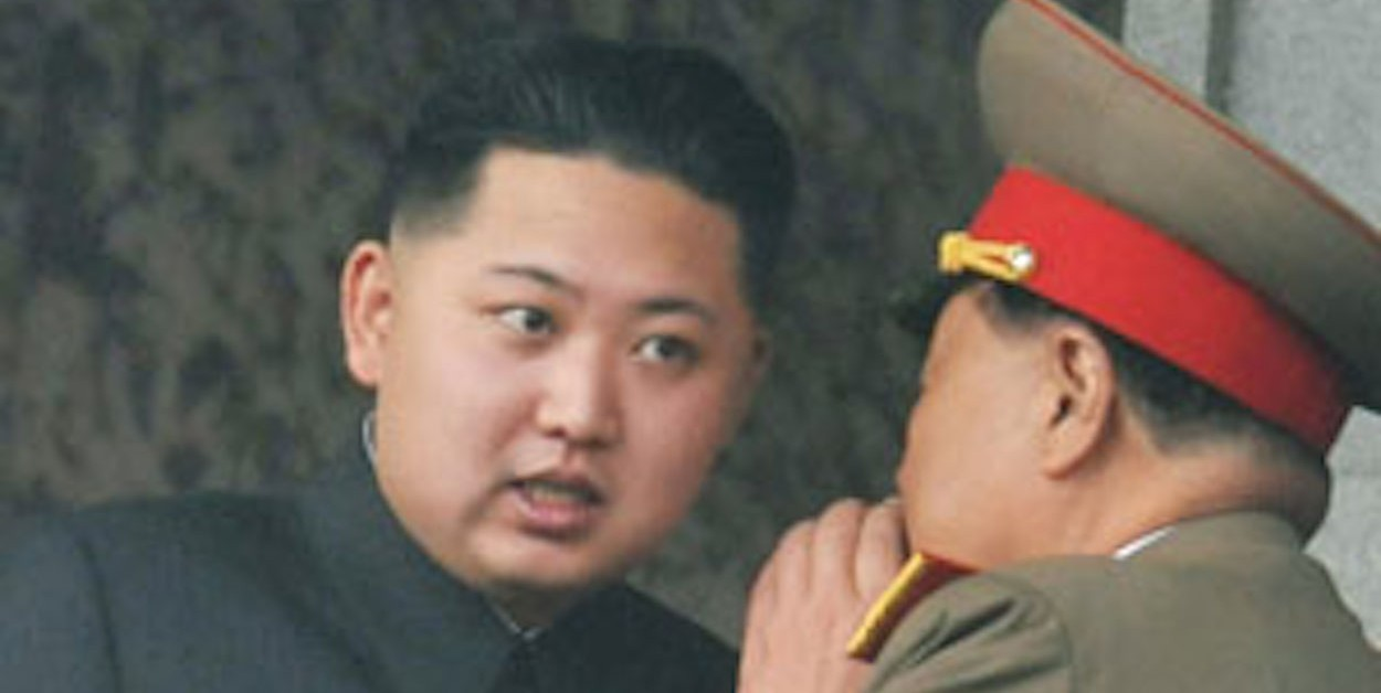 Kim Jong-un, youngest son of North Korean leader Kim Jong-il,  listens to an official speaking during a parade in Pyongyang