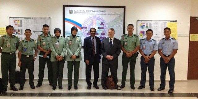 Cadets of the National Defence University of Malaysia, with Professor Ananthan and Professor Last, both retired Lieutenant-Colonels.