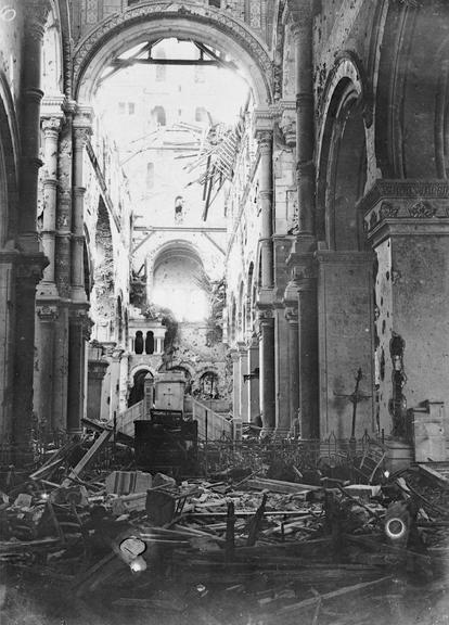William Ivor-Castle_ The ruined interior of Albert Cathedral, Battle of the Somme, July 1916. Imperial War Museum, CO867.