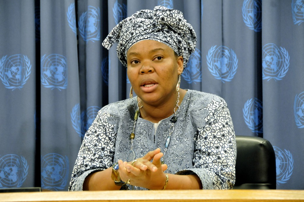 Leymah Gbowee, Executive Director of the Women Peace and Security Network Africa Organization, addresses a press conference to highlight the high-level colloquium on Conflict Related Sexual Violence in Peace Negotiations: Implementing Security Council Resolution 1820.(June 2009)