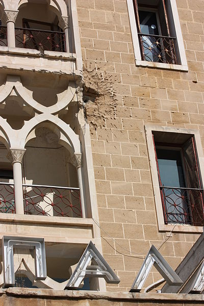 Mortar round hit on Ledra Palace Photo Credit James Humpheys