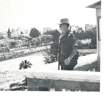 Yours truly on guard duty at Ledra Palace. -  Photo credit RCR
