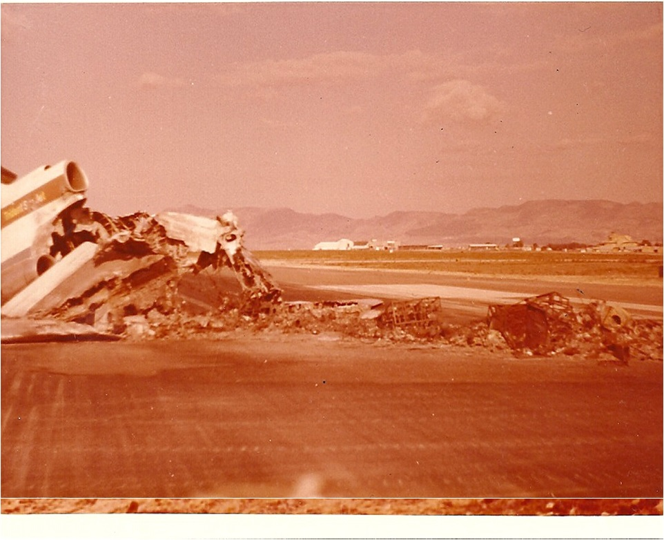 Wrecked and burned jet on tarmac at airport in Nicosia - Photo Credit Steve Zelezen