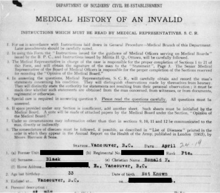 Example of Medical History of an Invalid form (Black, Ronald)