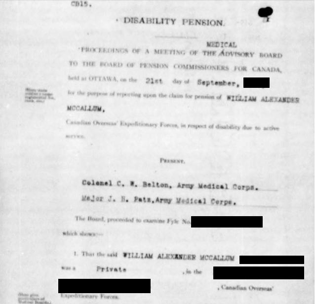Disability Pension: McCallum, William