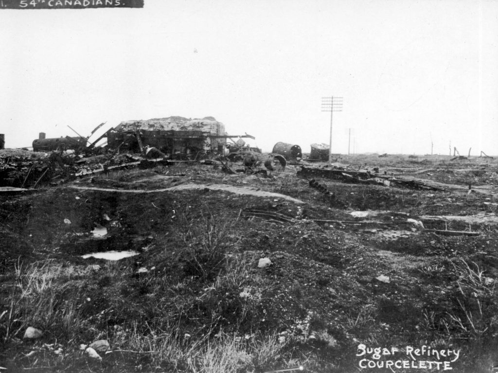 54th Canadians [showing ruins of] Sugar Refinery, Courcelette. Major Matthews Collection, City of Vancouver Archives.