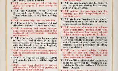 """What Every Soldier Should Know"". Wartime poster released by  Military Hospital Commission informing veterans of their benefits and encouraging hard work as a means to overcome disability. Canadian War Museum, 19900076-847."