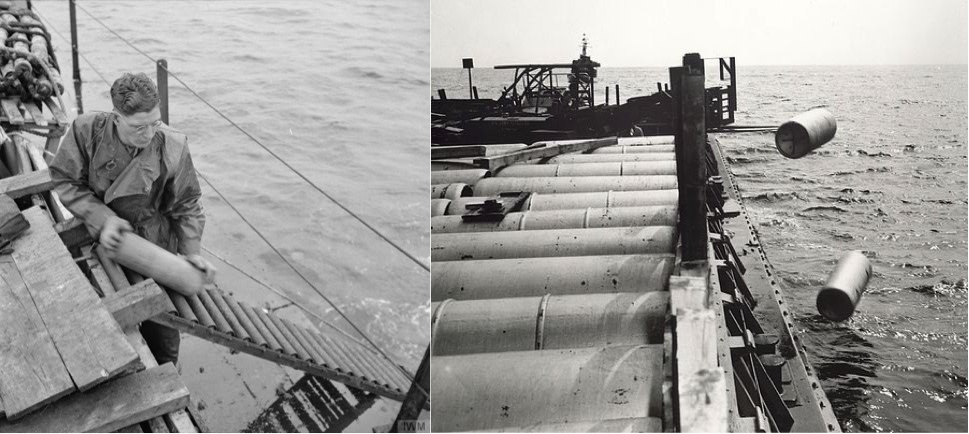 Conventional (left) and chemical (right) munitions being dumped at sea after the Second World War. Source: (above left) Imperial War Museum, H42207, http://www.iwm.org.uk/collections/item/object/205208196.