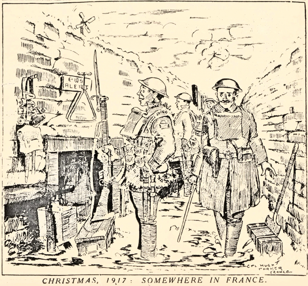 A sketch highlighting the impossibility of celebrating a conventional Christmas in the trenches. From The Listening Post, No. 29, December 1, 1917.