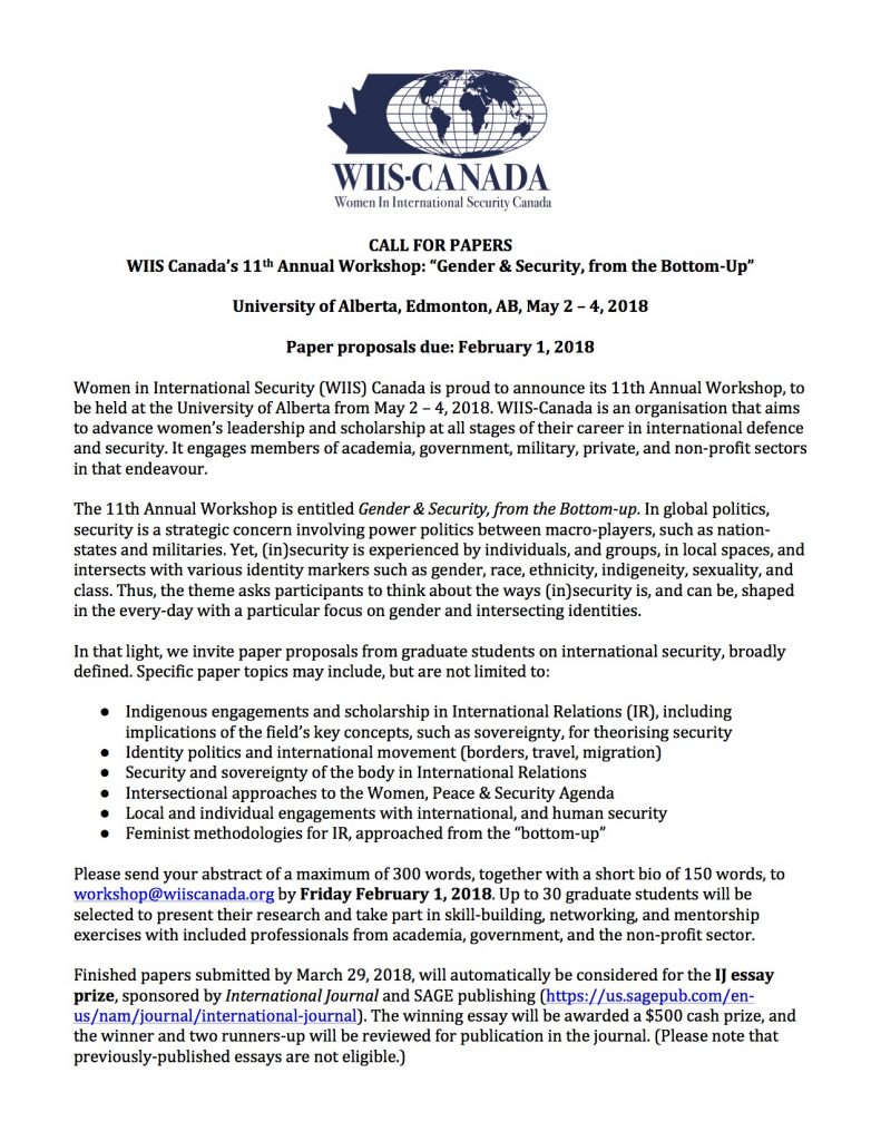call for papers women in international security th  call for papers women in international security 11th annual workshop