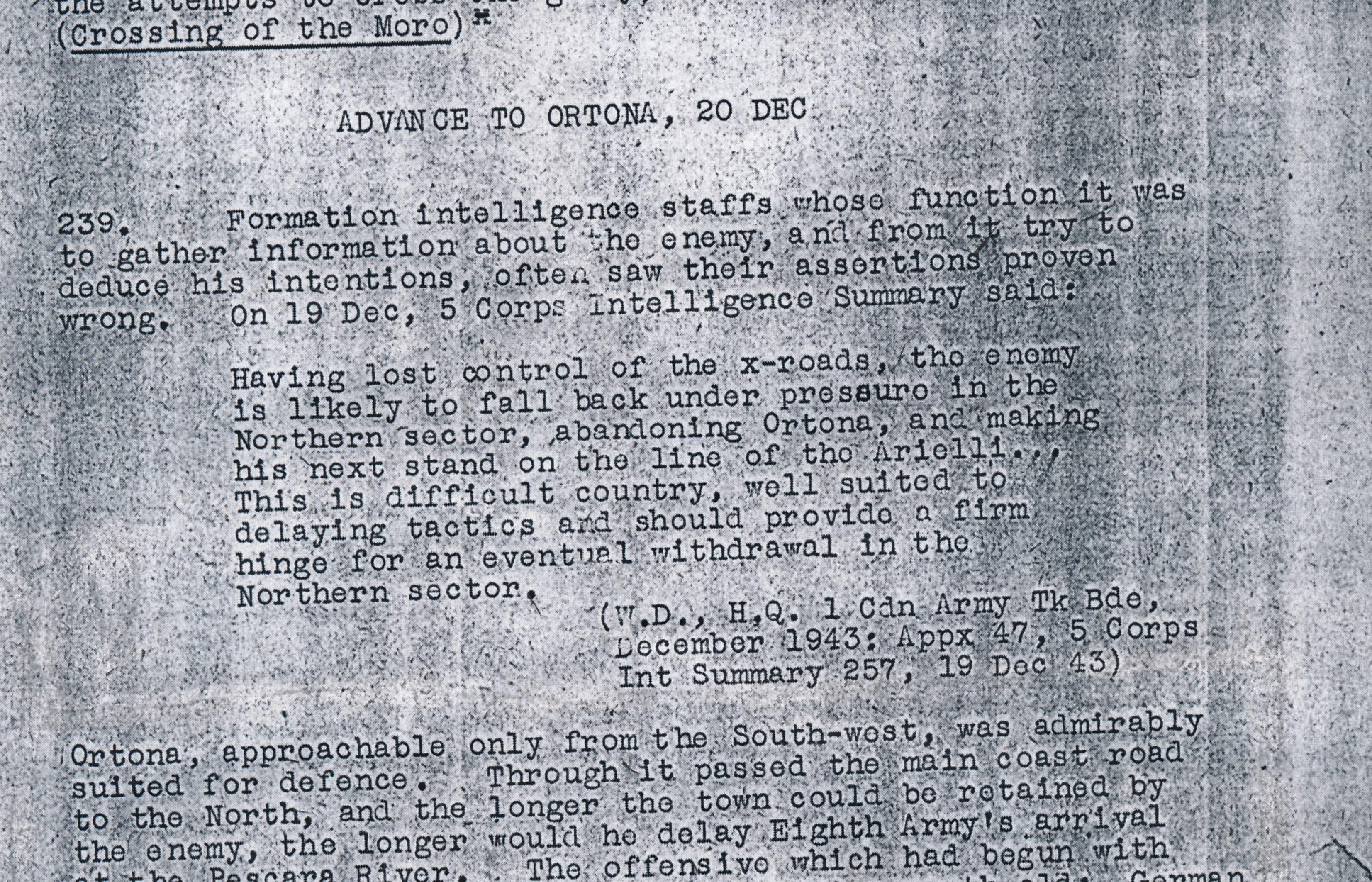 "@BattleofOrtona Blog – ""Defence of Ortona Intelligence Report"""