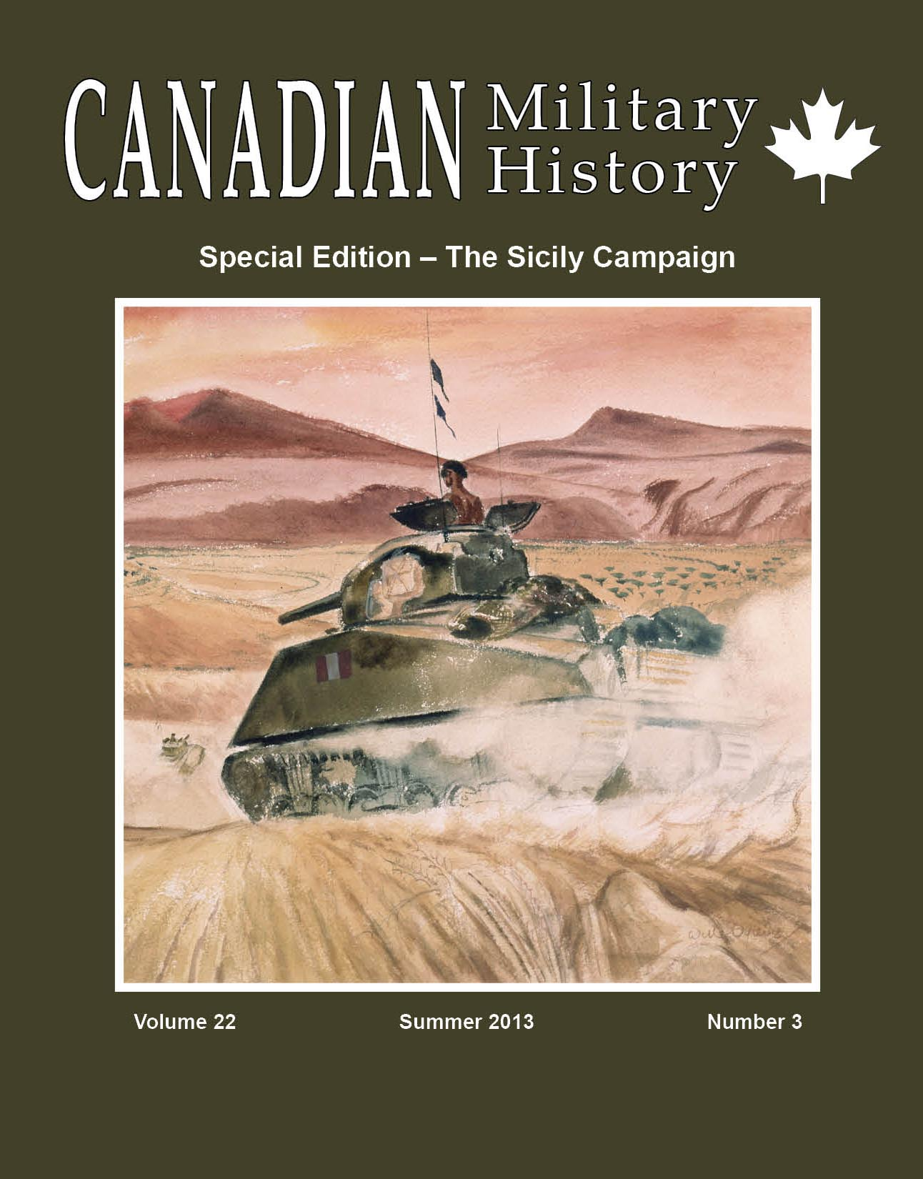 Special Edition of Canadian Military History Journal – The Sicily Campaign – Summer 2013 Vol. 22 No. 3 – (English)