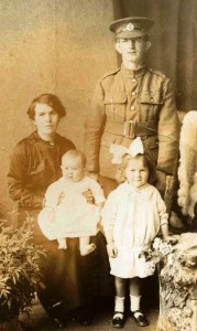 Private John Lloyd and his family. Pte. Lloyd was wounded in the Somme, 1916.