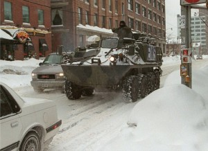 Jan.14, 1999--A Canadian Forces Bison armoured personnel carrier drives into the Toronto downtown core. (http://goo.gl/VWdTNA)
