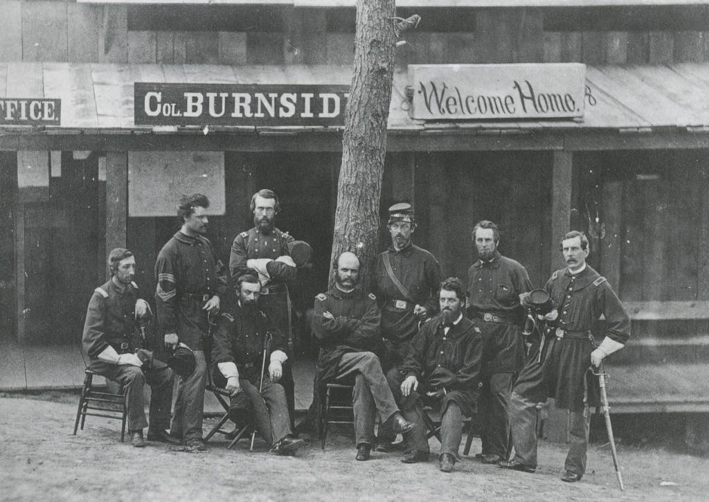 Colonel Burnside and Company by Mathew Brady (or an Associate) 1861 (Hand-Tinted Albumen Print)