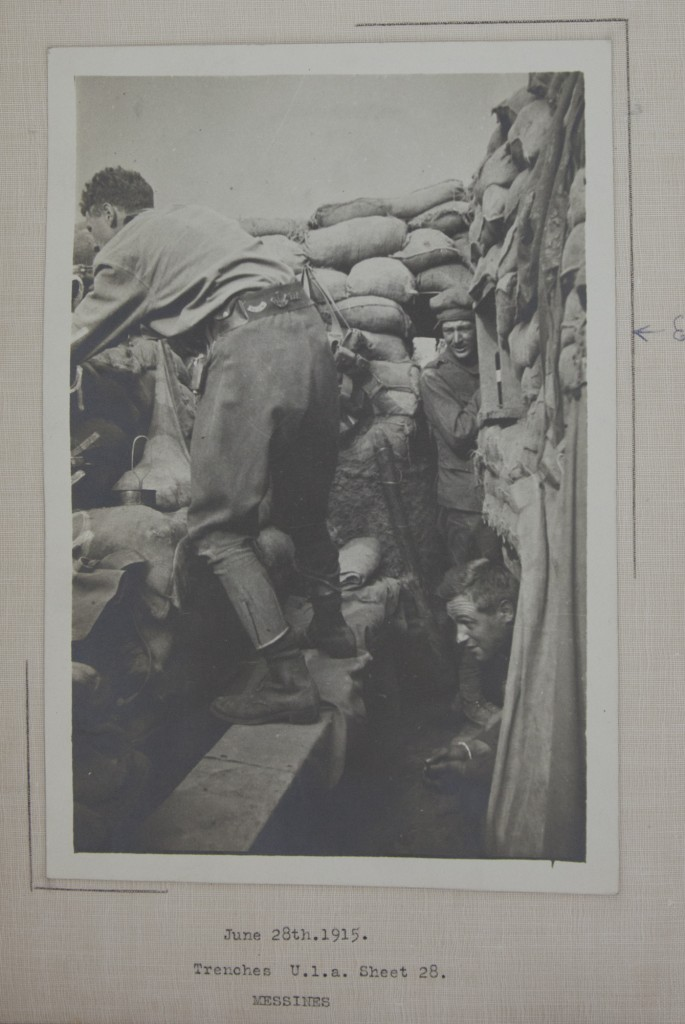 Edwin Pye shown in a trench, 1915.