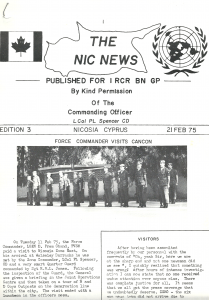 Front page of the NIC NEWS where we got the news about what was happening to our comrades on the rest of the island. We were so spread out you might not have seen people from the other companies the whole 6 months you were there. Photo Credit 1RCR Photographer.