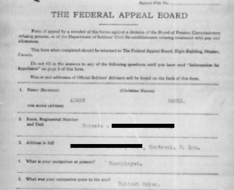 Appeal form: Adams, James