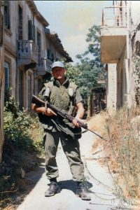 Peacekeeper doing a patrol in the narrow streets of Nicosia. Dangerous in the daytime and worse at night with trigger happy untrained people with automatic weapons. Picture credit Brian Watters