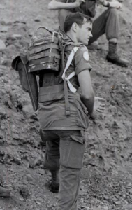 The type of radio carried on roving patrol. ANPRC77. It weighted 13.75 lb (6.2 kg) in the bag on the left hand side of the radio is a 3 ft antenna ( bush/battle whip) and base. Gooseneck mount. a 10 ft antenna. Picture credit Brian Watters