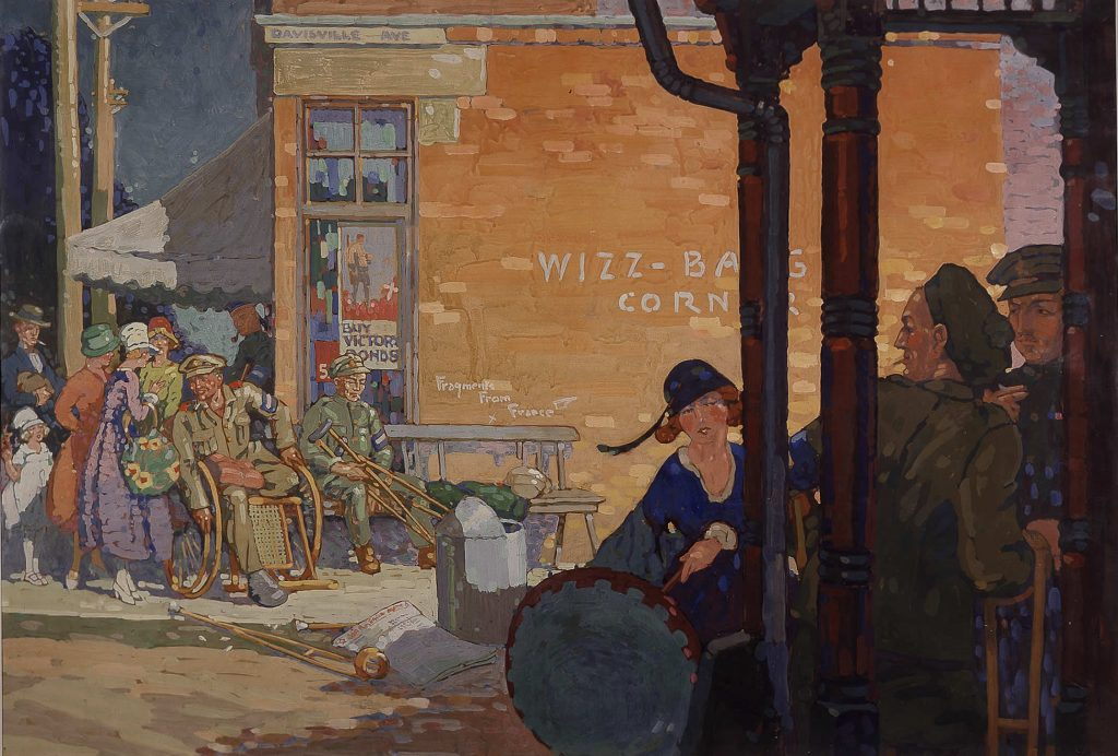 "This painting, ""A War Record,"" depicts wounded veterans outside the Orthopaedic Military Hospital in Toronto. The graffiti ""Whiz Bang Corner"" is in reference to a place on the Western Front named after the enemy's shells. By Stanley Francis Turner, Beaverbrook Collection of War Art, Canadian War Museum 19710261-0766."