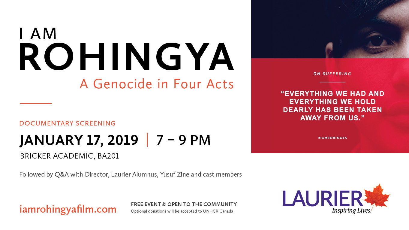 Documentary Screening of I Am Rohingya: A Genocide in Four Acts, Jan. 17, 7pm
